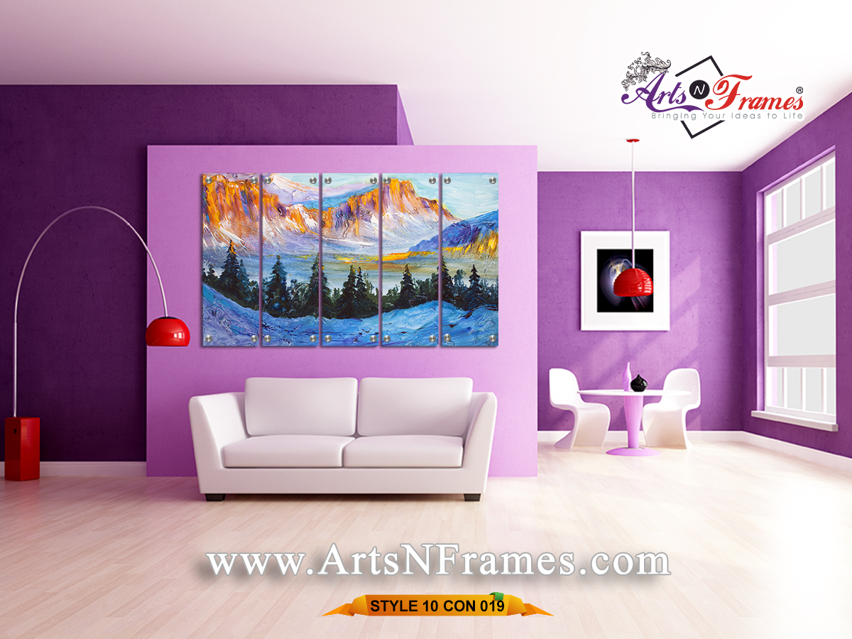 pieces wall art contemporary mountain painting modern wall