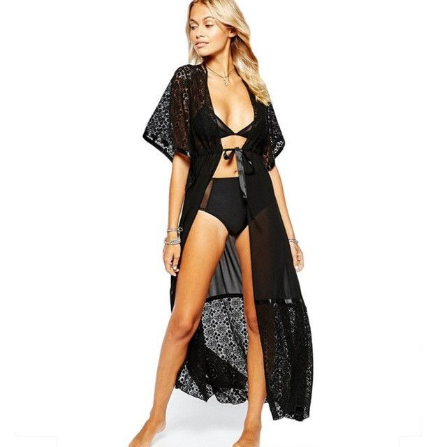 5b090b5195c7e Lace Long Women Beach Hot Sale Super Top Selling 2 Colors Swim Suit Cover Up  J2