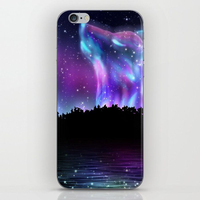 Northern Landscape With Howling Wolf Spirit And Aurora Borealis Iphone Skin by Annartshock - iPhone X