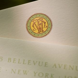 three color hand engraved stationery from the printery return