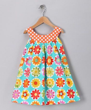 Take a look at this Turquoise Flower Yoke Dress - Toddler & Girls by SILLY MILLY on #zulily today!