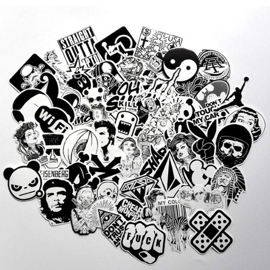 60pcs lot black and white cool diy stickers for skateboard laptop luggage snowboard fridge phone toy styling home decor stickers