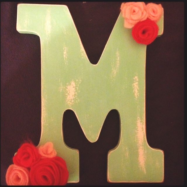 Painted M from Michaels Sanded it for vintage look Simple felt flowers.. So easy to make your own vintage themed wall art! <3