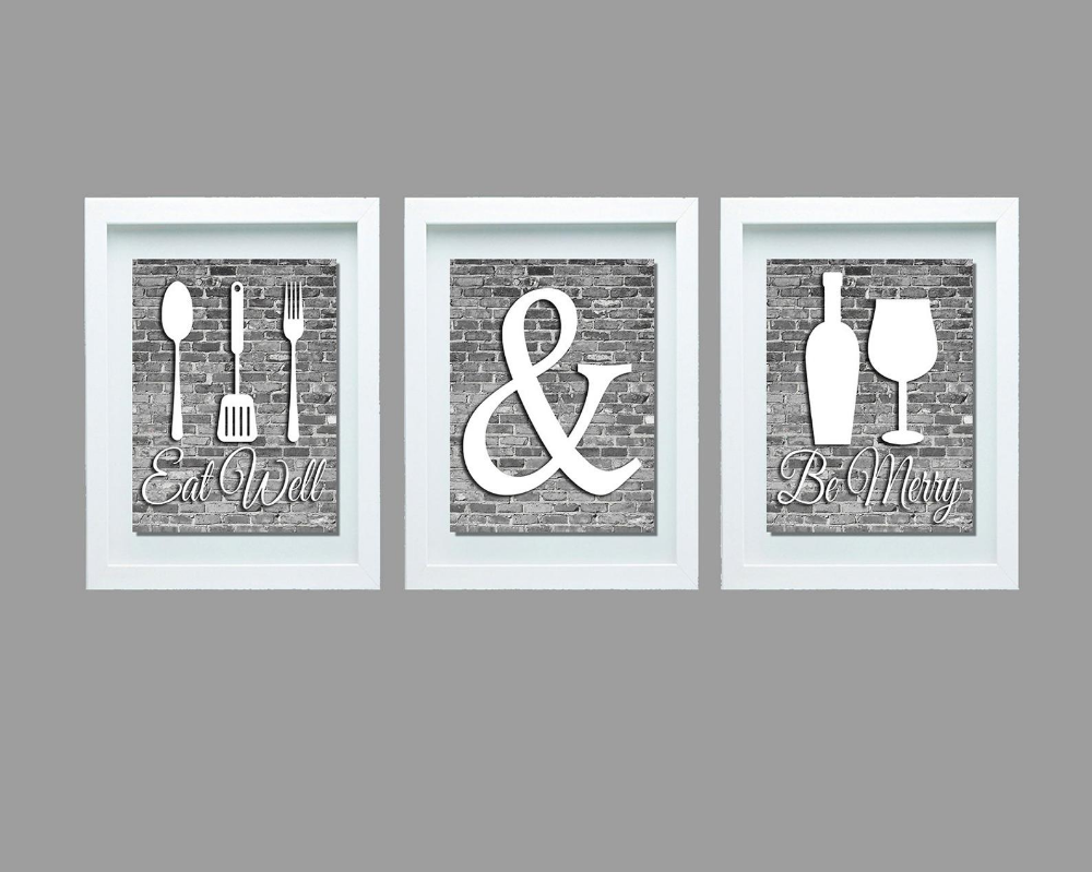 Gray And White Kitchen Wall Art Eat Well And Be Merry Print Etsy Kitchen Decor Modern Dining Room Wall Art Gray And White Kitchen