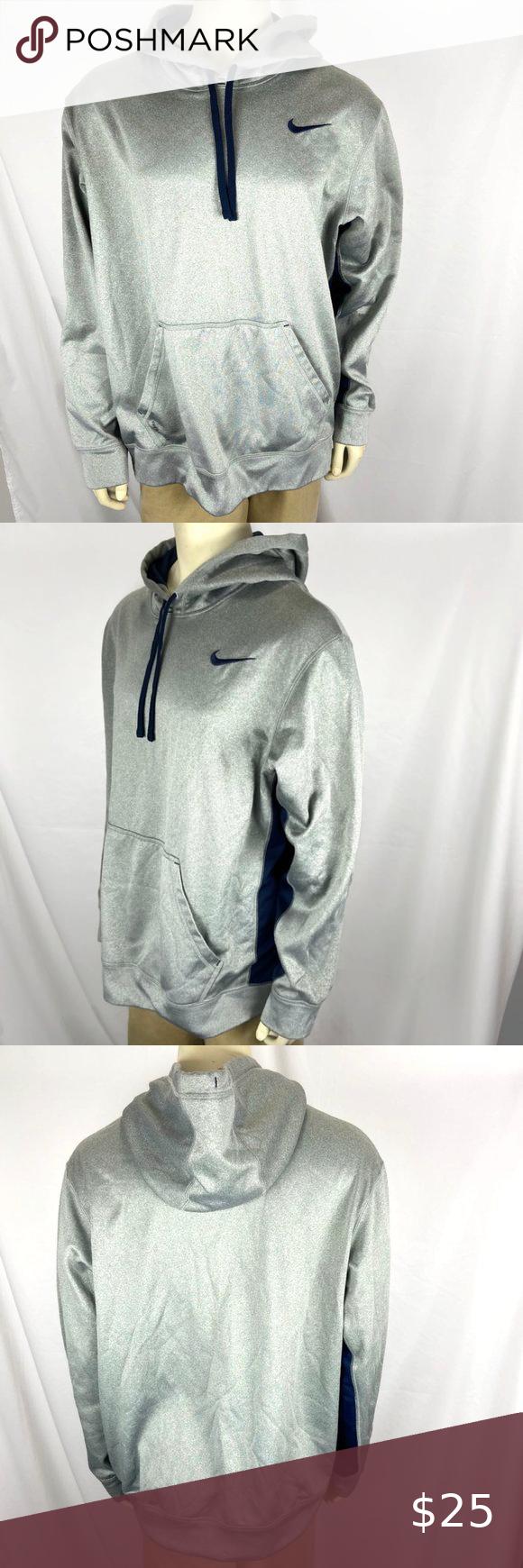 Nike Mens Xl Therma Fit Hoodie Pullover Sweatshirt Nike Therma Fit Hooded Sweatshirt Gray Blue Xl Chest 25 Lengt Workout Hoodie Sweatshirts Pullover Hoodie [ 1740 x 580 Pixel ]