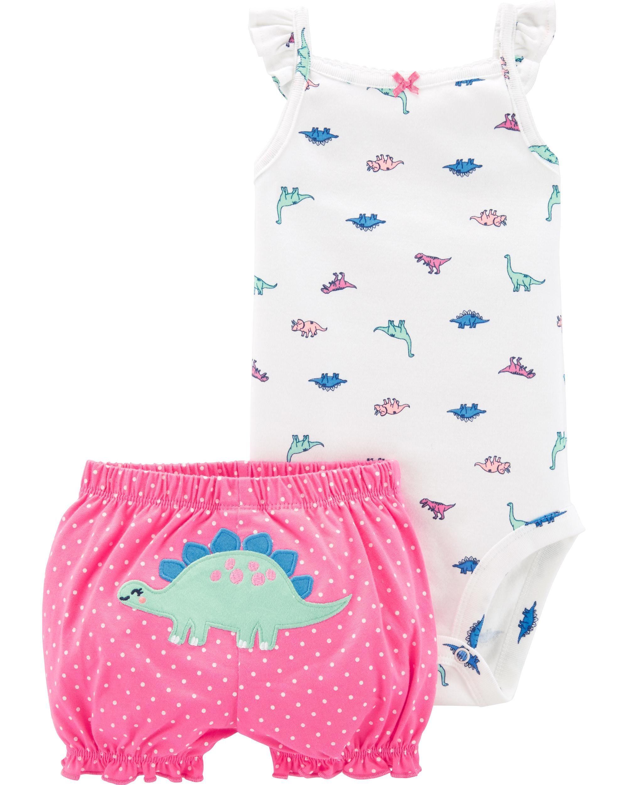 9ad209a15 2-Piece Dinosaur Bodysuit & Short Set | Babies | Carters baby girl ...