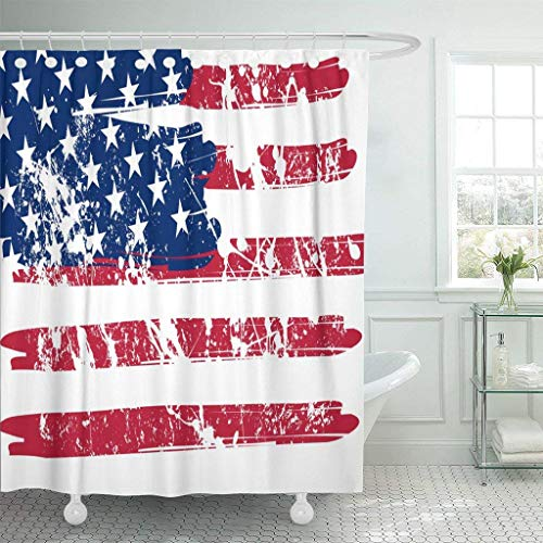 Gettoget Aged American Flag Patriotic Shower Curtain Holiday