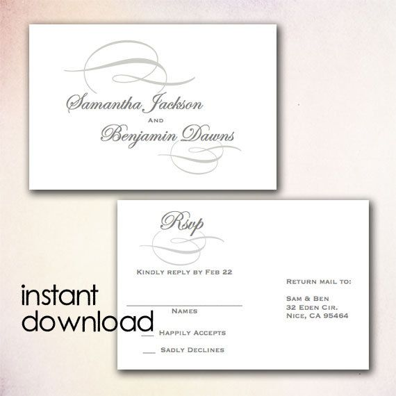 Diy Wedding Rsvp Postcard Template Instant Download Microsoft Word Version Gray Elegant Swirl Rs102 Wedding Response Cards Rsvp Wedding Cards Rsvp Postcard