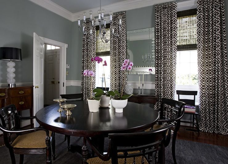 Dr Blue Gray Walls Curtains Dining Room Windows