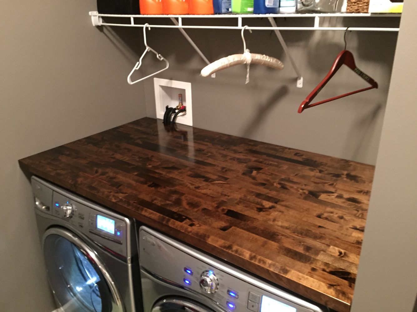 Countertop for front load washer and dryer - Just Finished Installing Our New Whirlpool Front Load Washer And Dryer With A Beautiful Hand Stained