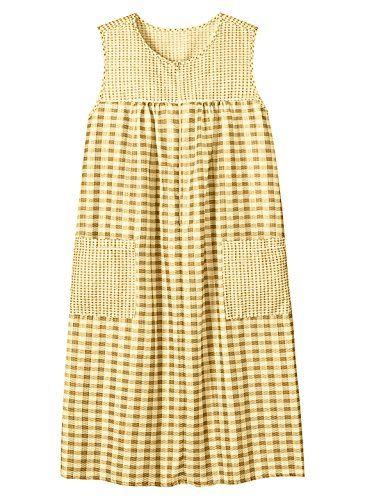 e2c0b92b3e Womens Sleeveless Zipper Gingham Shift House Dress Duster