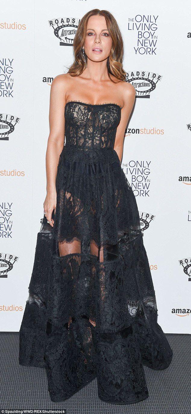 Kate beckinsale stuns in lacy black ensemble at premiere kate