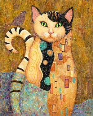 Klimt Style Cat No Lesson Connected Klimt Art Cat Art Art