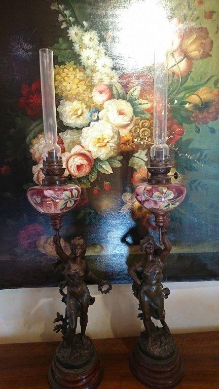 Signé Hippolyte Pétrole Lampe Vintage Paire Imelda De Moreau À MpSzqUV