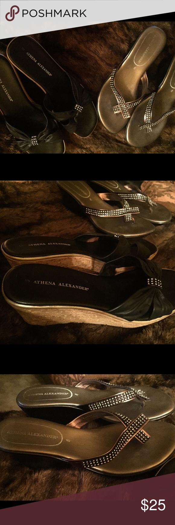 2 Pair Athena Alexander Shoes Sandles Black Silver Excellent Condition Athena Alexander Shoes Sandals