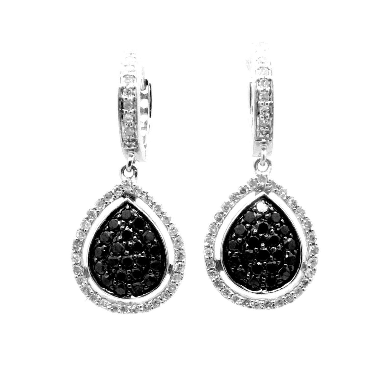 Pear Shaped Black Diamond & White Diamond Dangle Earrings