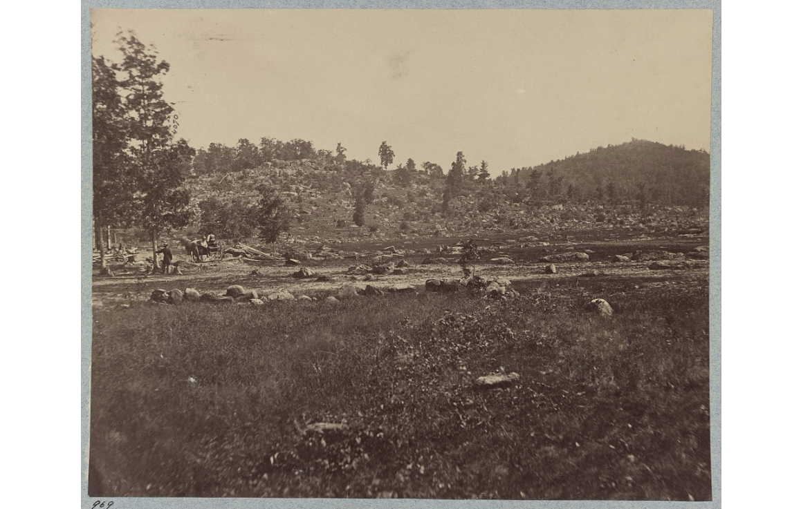 view of Little Round top and Round top, at Gettysburg, 1863