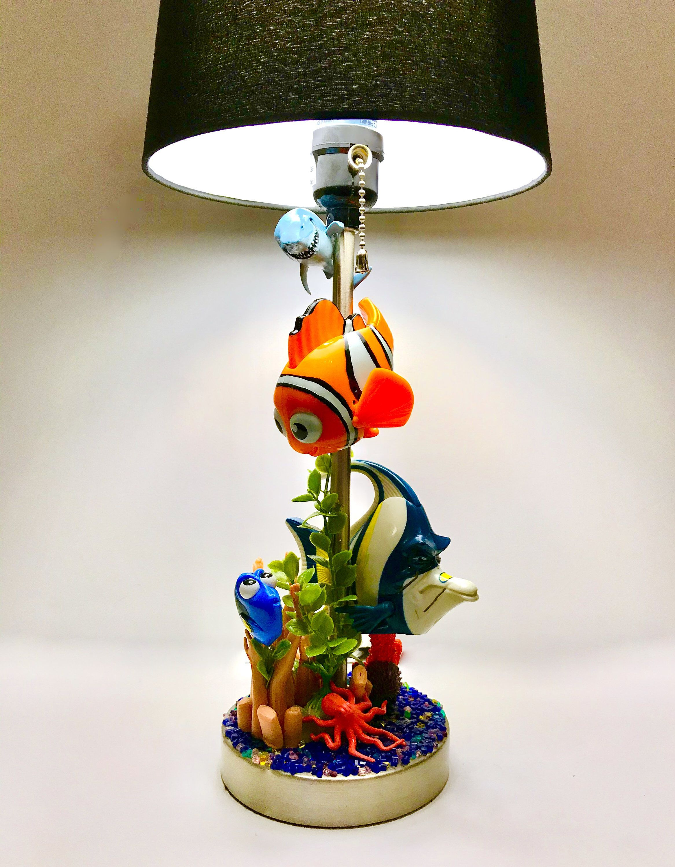 Finding Nemo Lamp And Decor Dory Marine Plants Blocks Clown Fish Theme Disney Lamp Pixar Happy Meal Toys Upcycled Aquarium Plants In 2020 Disney Lamp Finding Nemo Decorations Happy Meal Toys