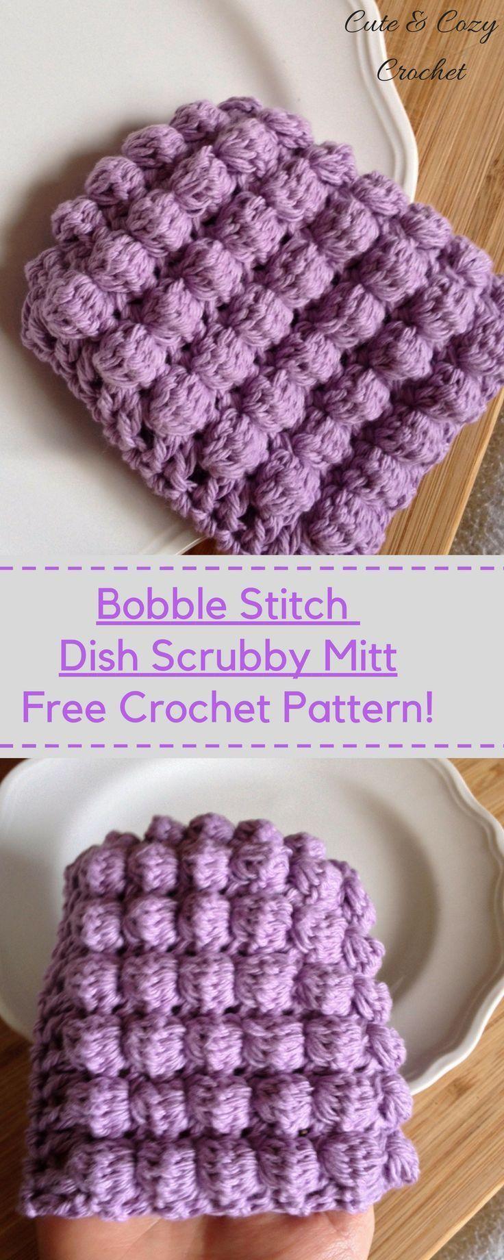 Bobble Stitch Dish Scrubby Mitt | Puntadas, Gorros y Puntos crochet