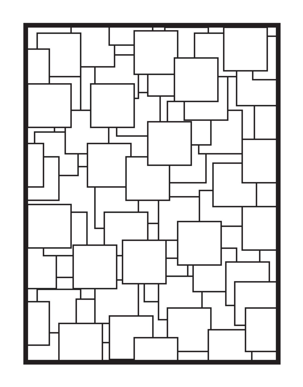 Geometric abstraction coloring book page digital download color