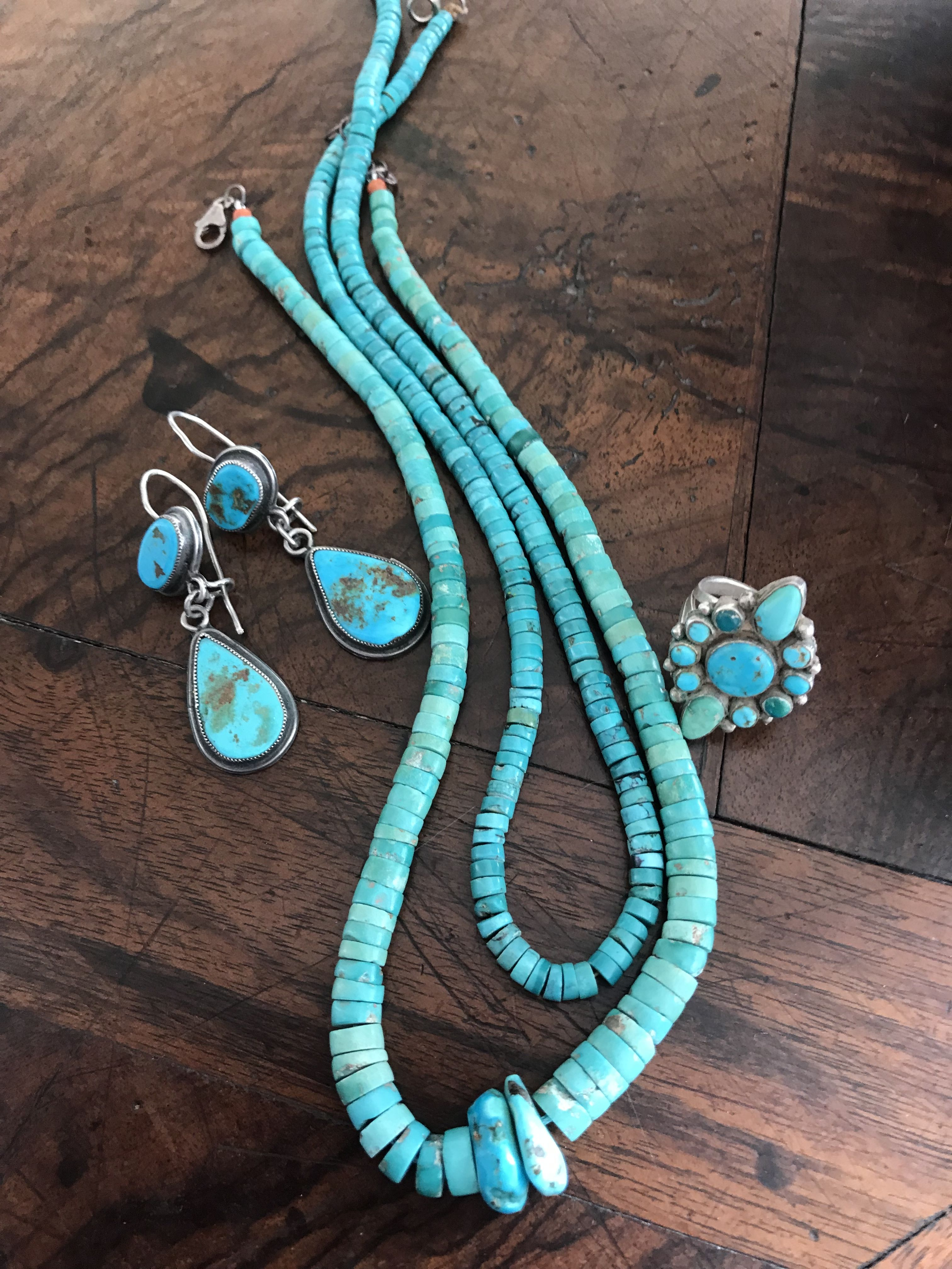 Turquoise earrings, ring and heishi necklace FOR SALE