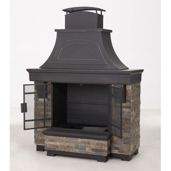 Sunjoy Japer 72 Inch Steel And Faux Stack Stone Outdoor Fireplace By Sunjoy