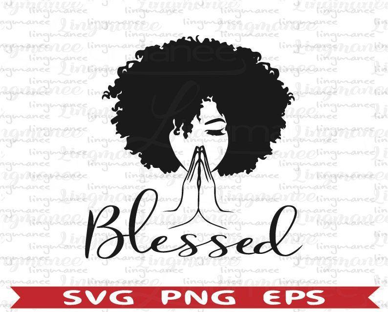 Black woman praying svg. Black Woman svg. Afro woman svg