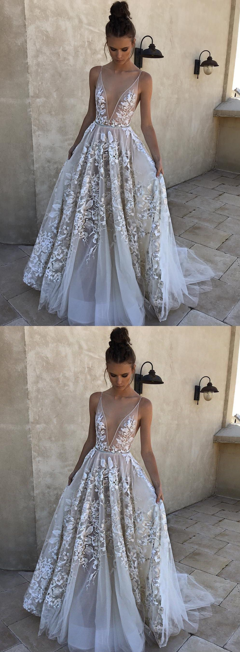 Aline deep vneck sweep train ivory tulle prom dress with appliques