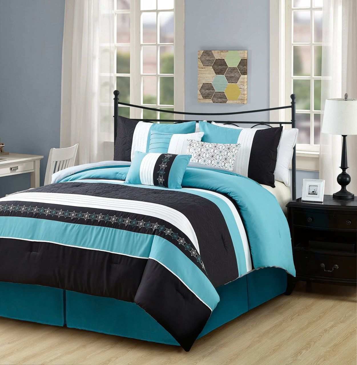 7 Piece Cherika Turquoise Black Comforter Set Loskutnoe Odeyalo Odeyalo Teal and black bedding sets