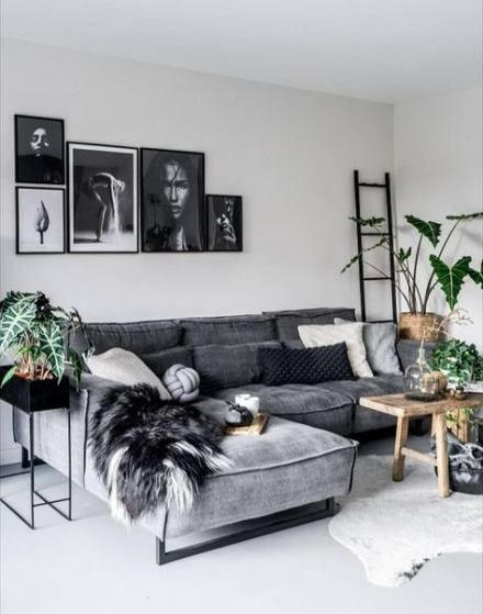 55 Trendy Living Room Decor Black Couch Plants Small Modern