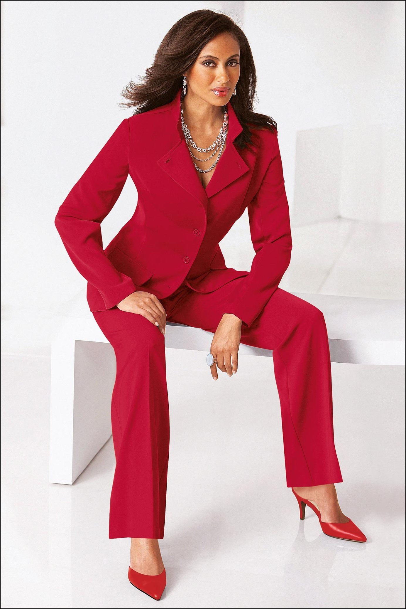 Popular Women Red Elegant Pants Suit 2015 Top Fashion Bat Sleeve Womens Suits