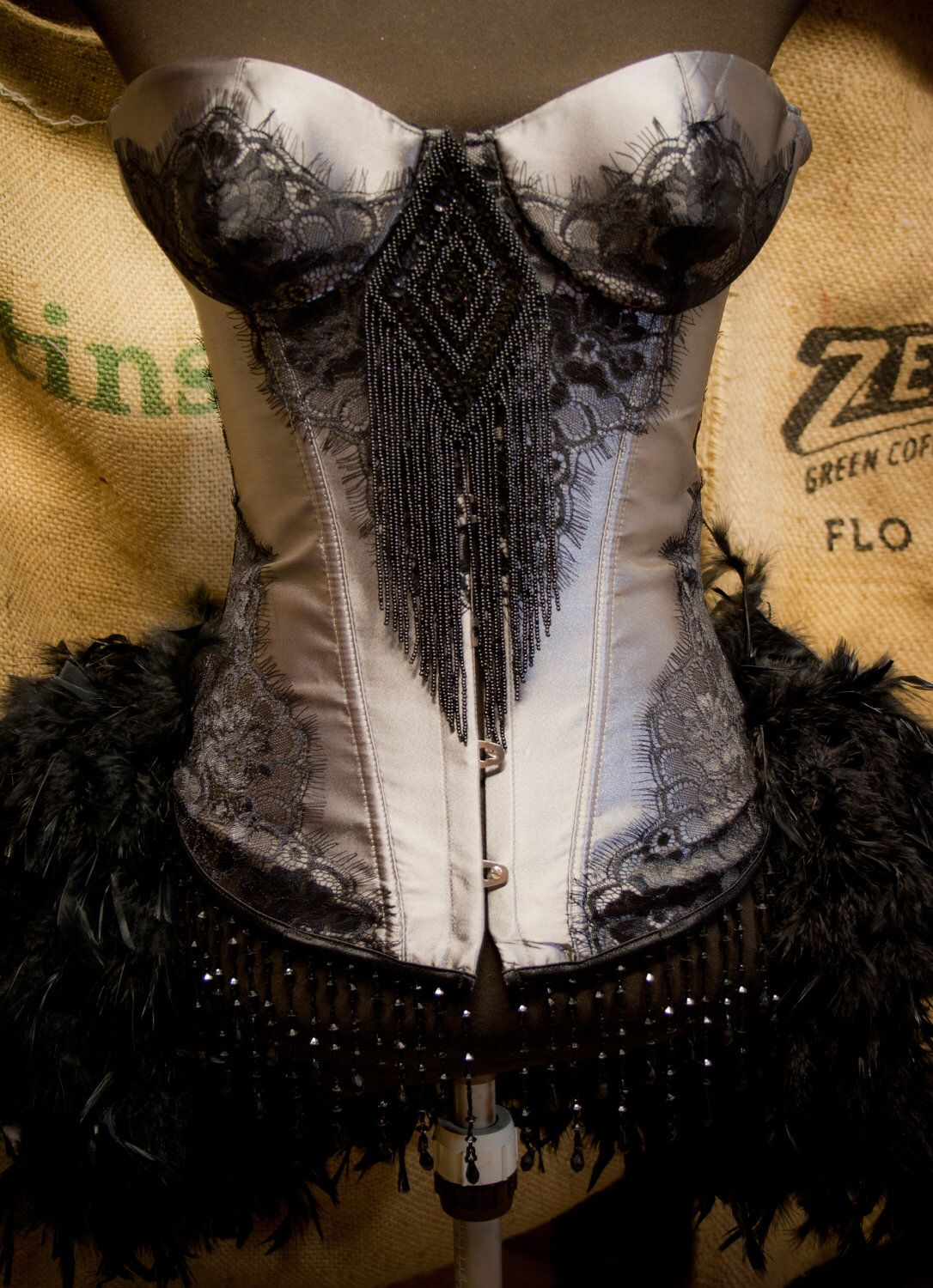 Black and Red Corset Ruffle Bra Lingerie Wasteland Outfit Made to Order Steampunk Bra