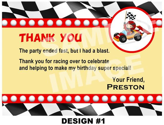 Race Car Thank You Note Race Car Thank You By Storybooklanecrafts