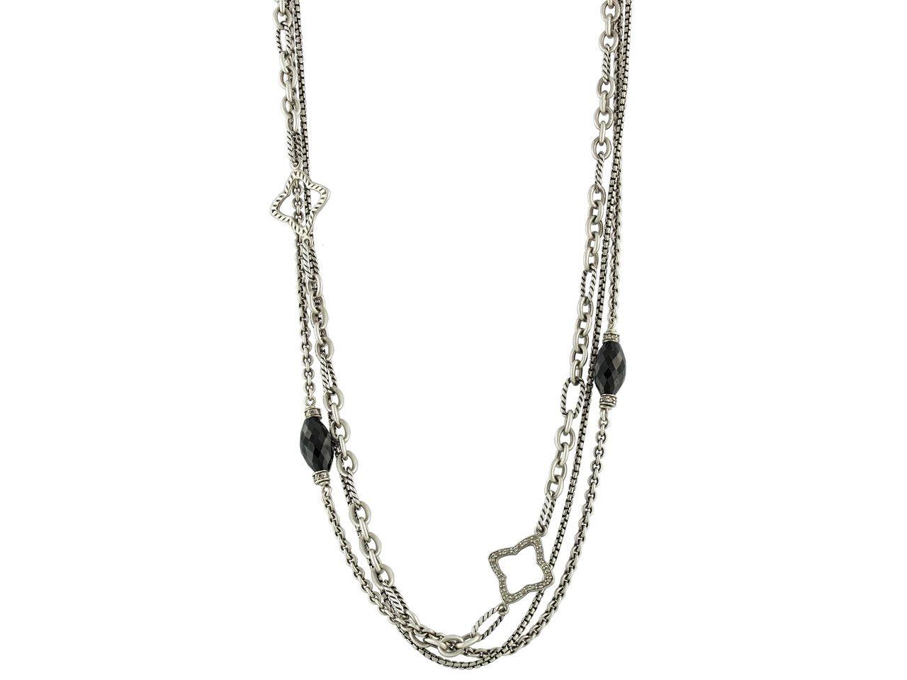 5e885c754de5a David Yurman Black Onyx and Diamond Quatrefoil Necklace from ...