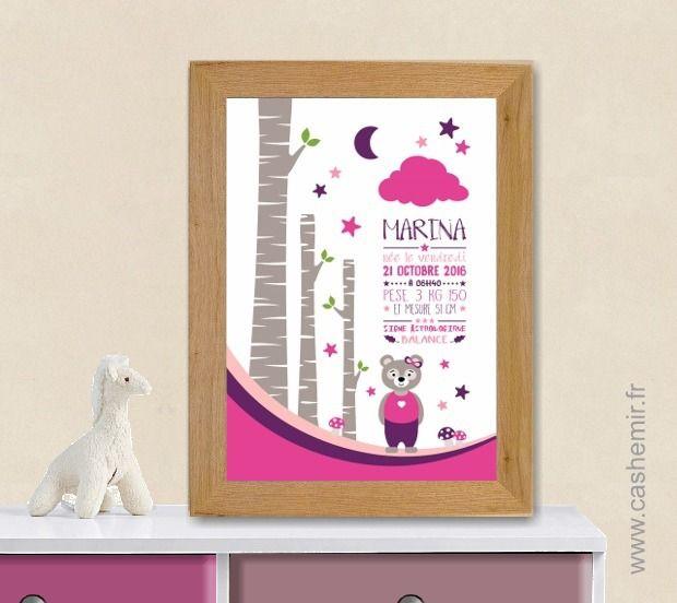 Affiche de naissance, cadeau de naissance fille personnalisé