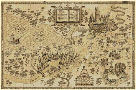 Harry potter Cross Sch Pattern Pdf marauder's map pattern ... on secret s map harry potter, map in game of thrones, map harry potter books, fictional map harry potter,