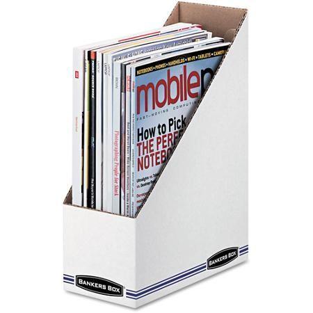 Cardboard Magazine Holders Bankers Box Corrugated Cardboard Magazine File White 12Carton