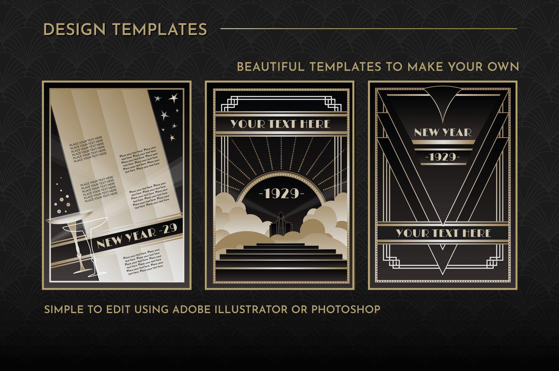 Art Deco Menu Templates Vol 1 By wingsart TheHungryJPEG.com #Sponsored  #Menu, #PAID, #Deco, #Art, #Templates in 2020 | Art deco logo, Art deco, Art  deco poster