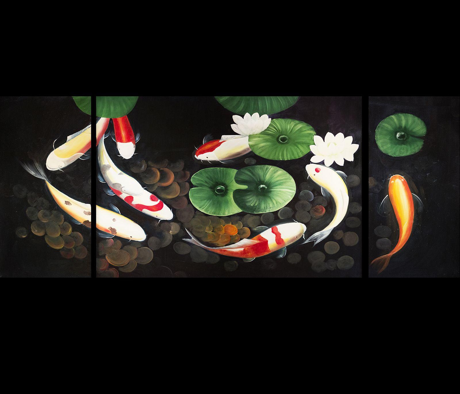 Modern Wall Art Koi Fish Painting Koi Painting Fish Painting Feng Shui  Painting