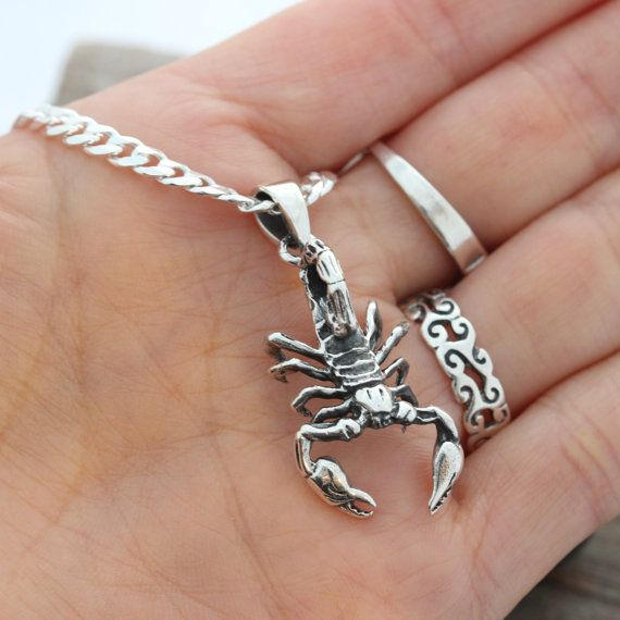 Insect Jewelry. 925 Sterling Silver Scorpion Pendant Sterling Silver Scorpion Charm Solid Sterling Silver Scorpion Necklace
