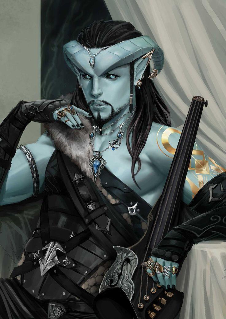 Male Blue Skinned Tiefling Bard Med Armor Bracers Cloak Lute