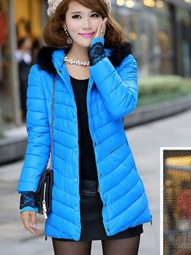 Chic Pure Color Warm Hooded Down Coat