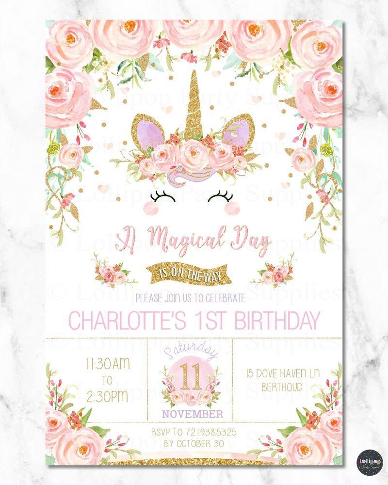 Unicorn invitations girls 1st first birthday party rainbow floral ...