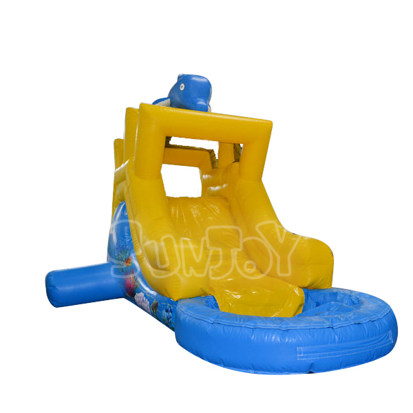 Dolphin Theme Small Inflatable Water Slide For Kids