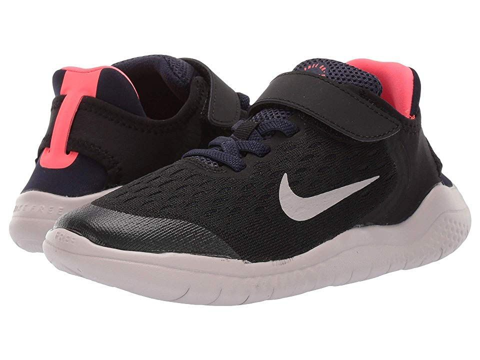 Kids Free RN 2018 (Little Kid) (Black/Moon Particle/Blackened Blue) Boys Shoes. Nike keeps them light on their feet with the Free RN 2018. Highly-breathable engineered mesh uppers with minimal no-sew synthetic overlays. Flushed color throughout upper for added design. Bootie construction provides sea...