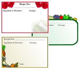 Online Recipe Card Templates  Adobe Program Needed This Is A