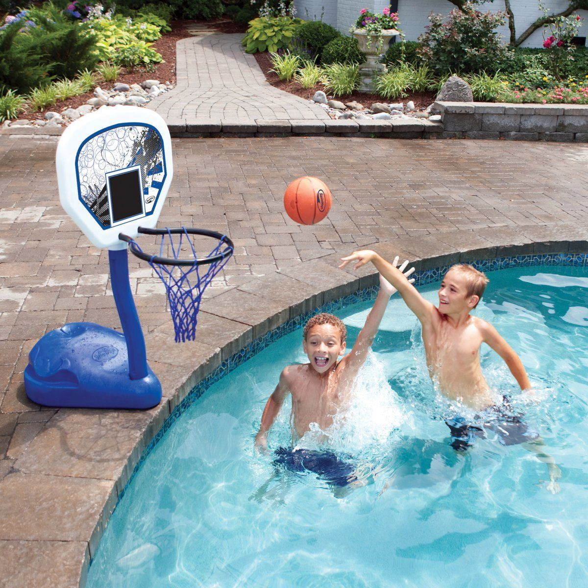 Swimways Poolside Basketball Hoop With Ball And Volleyball Water Sport Game Set Click Image To Review More De Fun Pool Games Pool Basketball Water Pool Games