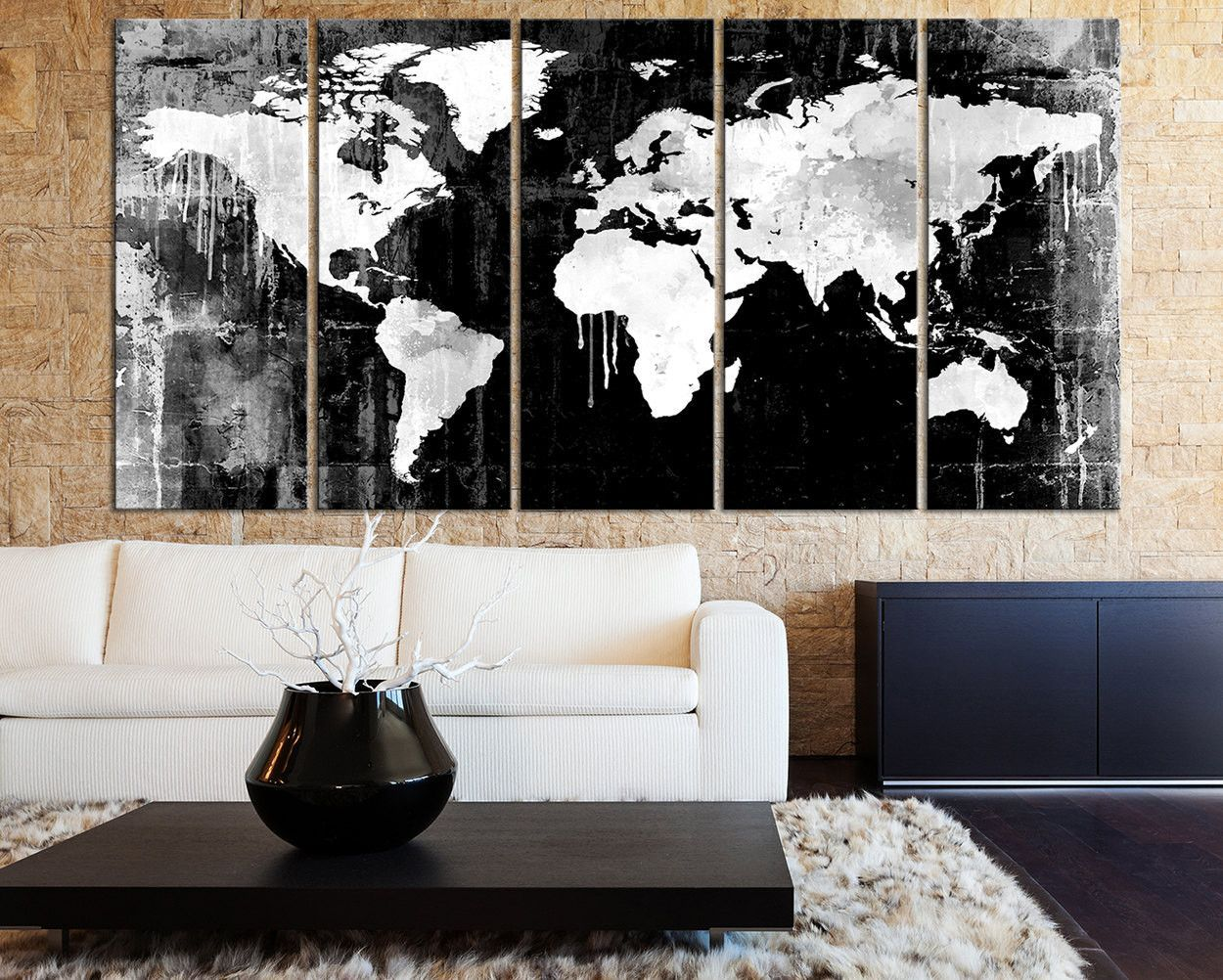 Grayscale world map canvas art print black white watercolor world grayscale world map canvas art print black white watercolor world map 5 piece canvas art gumiabroncs Gallery