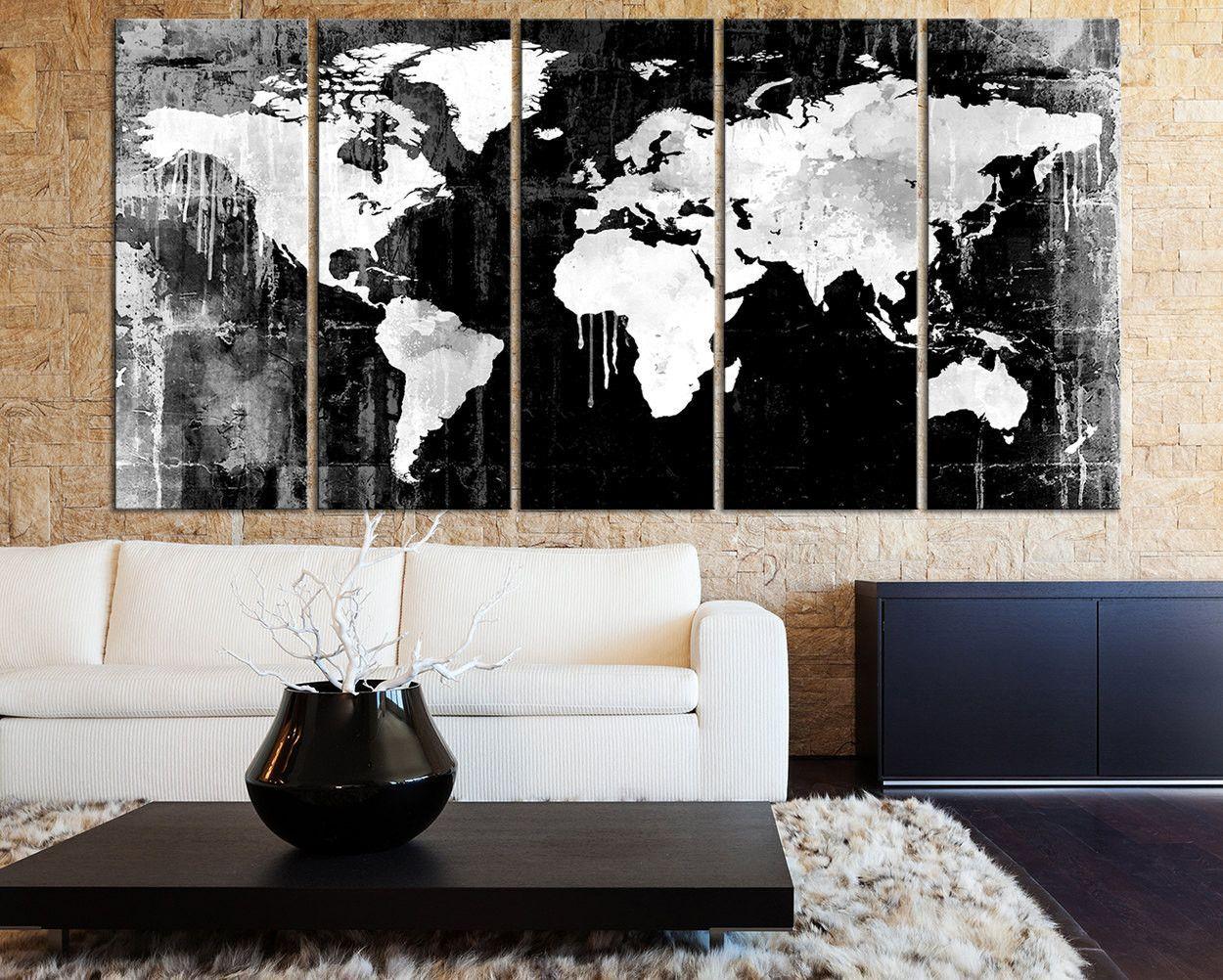 World map canvas art print black white watercolor world map 5 grayscale world map canvas art print black white watercolor world map 5 piece canvas art print ready gumiabroncs Gallery
