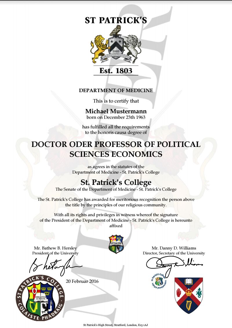 Doktortitel kaufen St. Patrick College University ...